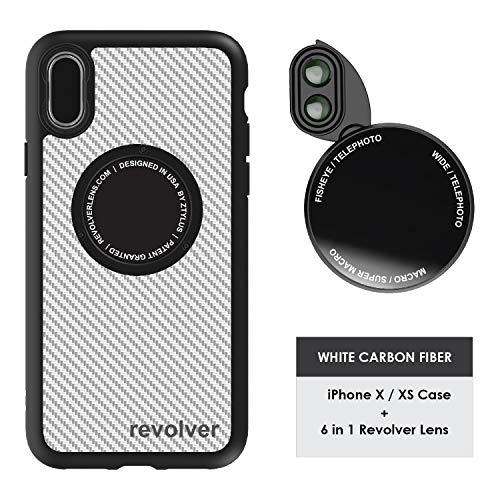 Ztylus Designer Revolver M Series Camera Kit: 6 in 1 Lens with Case for iPhone X/XS - 2x Telephoto Lens, Macro, Super Macro Lens, Wide Angle Lens (White Carbon Fiber)