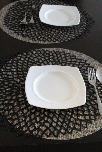 [ チルウィッチ ] Chilewich ランチョンマット プレスド ダリア フローラル 39×36cm ラウンド おしゃれ プレイスマット 100142 ブラック(005) Pressed Dahlia Floral/Round Black