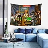 Tapestry Dogs Playing Poker Wall Hanging for Bedroom Home Living Room Dorm Decor Window Curtain Picnic Mat (60*40 Inches)