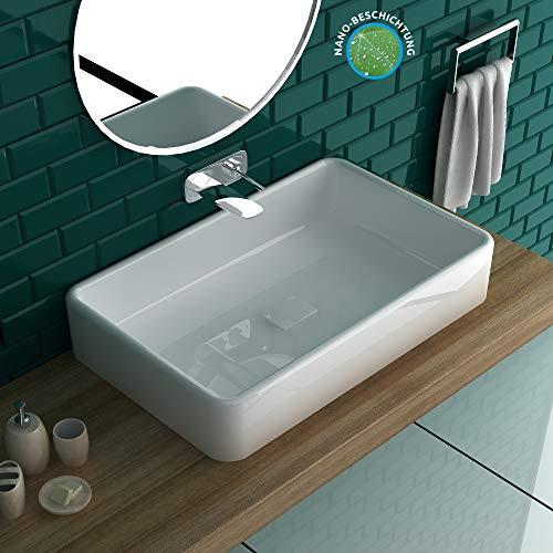 Antibakterielle Beschichtung Aufsatz-Waschbecken 60 x 38 cm | Moderne Lösung für Ihr Badezimmer oder auch Gästebad | Besonders leichte Reinigung durch antibakterielle Oberfläche