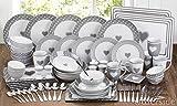 Service de vaisselle de 80 pièces à motif coeur gris