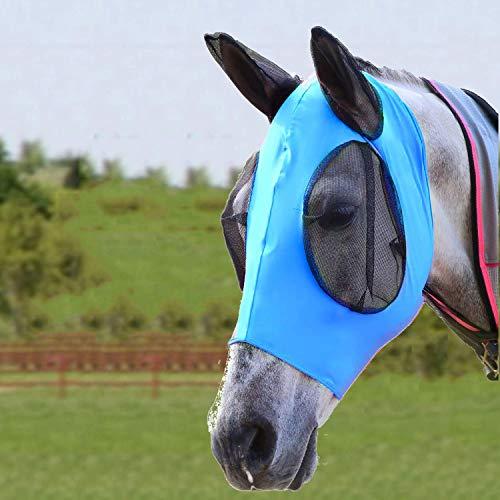 Bythavny Máscara antimoscas para caballos con orejas, de licra, lisa y elástica, para caballos y protección UV (azul)