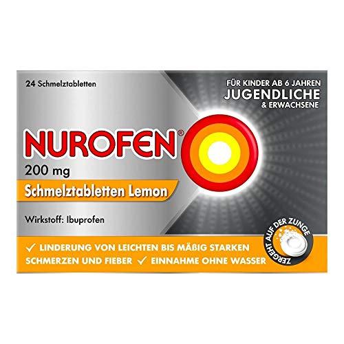 Nurofen 200mg Schmelztabletten Lemon – Ibuprofen mit Lemon Geschmack bei Schmerzen und Fieber – Zergeht auf der Zunge – 2er Packung mit 24 Stück