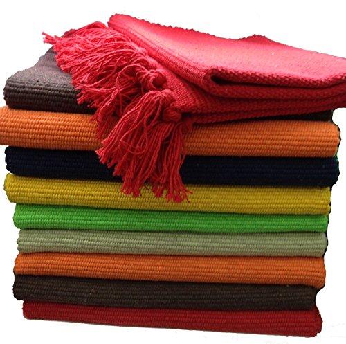 GMMH Fleckerlteppich Baumwolle Handweb Teppich Flickenteppich Fleckerl Handwebteppich (45 x 70cm, orange)