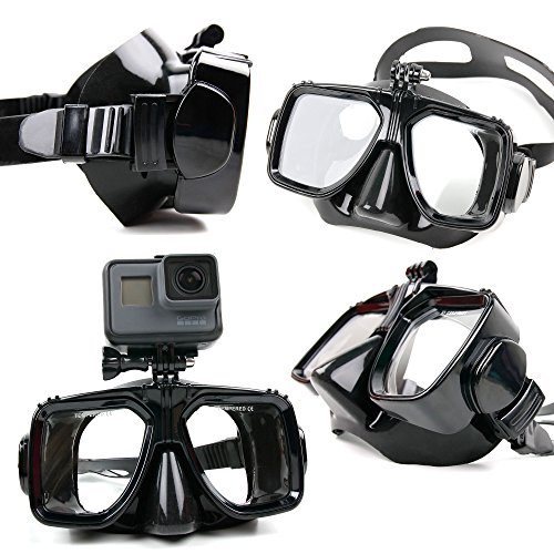 DURAGADGET Maschera Subacquea + Supporto Action Camera ICONNTECHS IT | LMT F60R | miSafes | Mixmart | ONEU | WiMiUS L1 - Nuoto Immersioni Snorkeling - Colore Nero