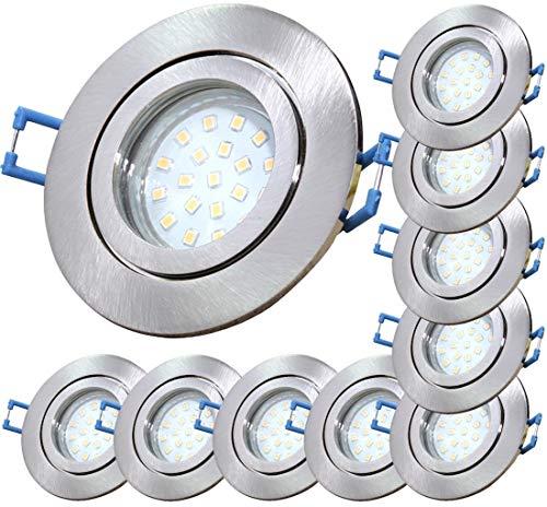 LED Bad Einbaustrahler 230V inkl. 10 x 5W SMD Modul Dimmbar Farbe Eisen geb. IP44 Einbauleuchten Neptun Rund 3000K Warmweiß