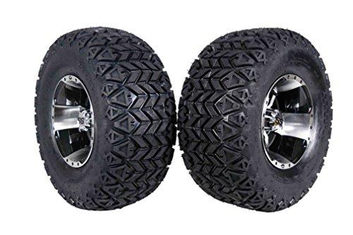 MASSFX 22' Golf Cart Tire on Machined Wheel 22x11-10 Tire 10x7, 4/4 Rim (2 PACK)