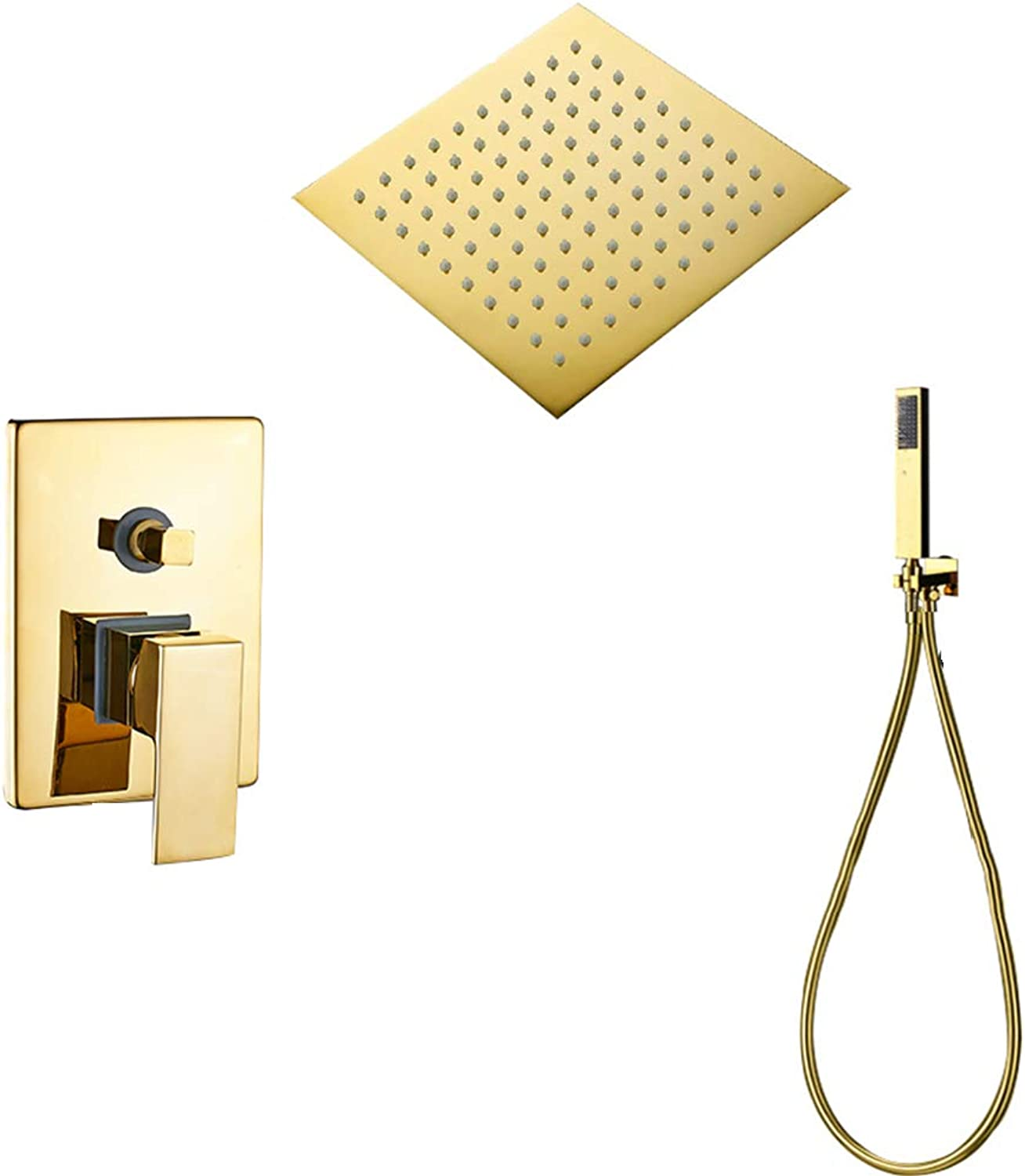 Shower System, Wall Mounted gold Shower Faucet Set, Ultra Thin gold Shower Head and Hand Shower,10Inchfullset