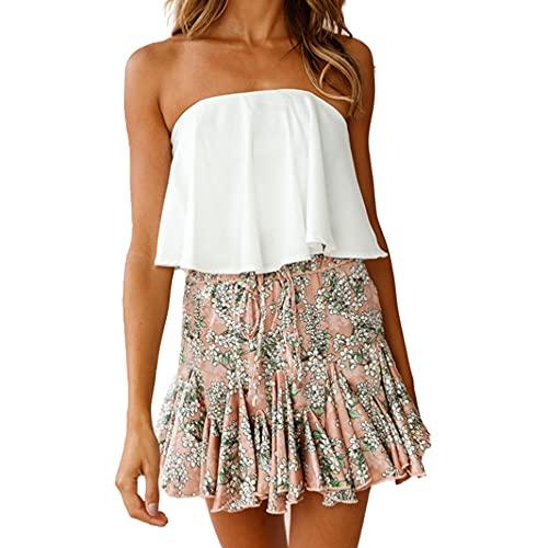 N\P Falda de impresión digital floral falda de volantes de calle