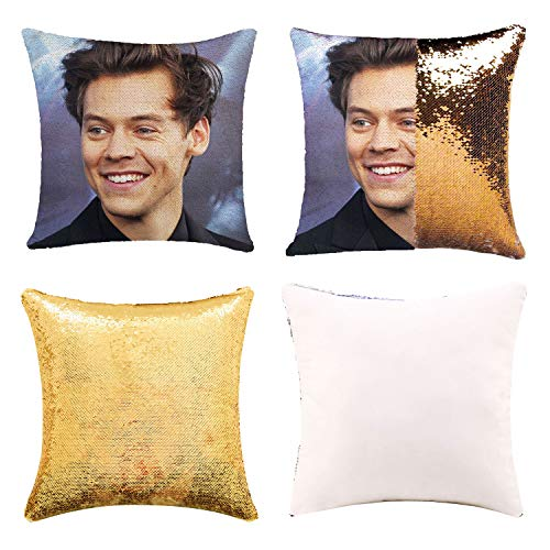 Funny Sequin Pillow Cover Gag Gifts Magic Reversible Home Decorative Cushion Cover 16x16 (Black, Pack of 1) (Yellow Gold)