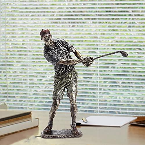 Golfista de deportes Escultura Resina Artesanía Inicio Armario de vino Decoración Adornos de souvenirs, tallado a mano y pintado C