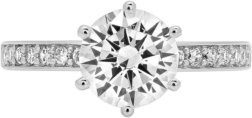 Clara Pucci 2.06 Brilliant Round Cut Solitaire Stunning Genuine Flawless White Lab Created Sapphire Gem Designer Modern Accent Ring Solid 18K White Gold