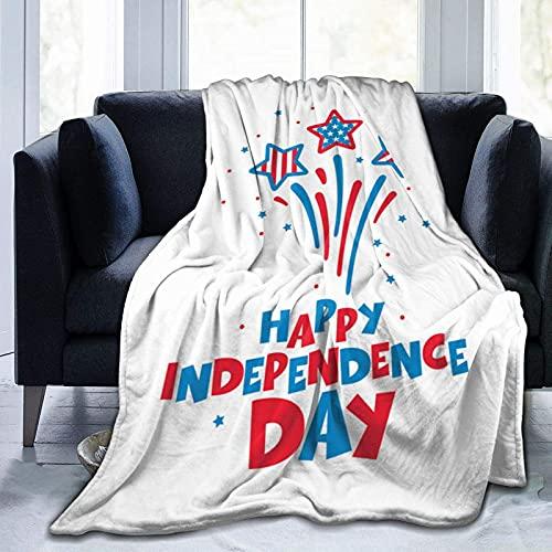 Manta de Felpa Suave Cama Día de la Independencia del 4 de Julio Manta Gruesa y Esponjosa Microfibra, Suave, Caliente, Transpirable para Hogar Sofá , Oficina, Viaje