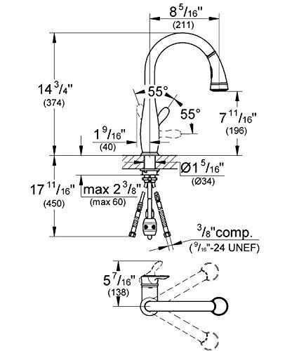 Grohe – Parkfield Küchenarmatur, hoher Auslauf, Komfort-Spülbrause, Chrom - 2