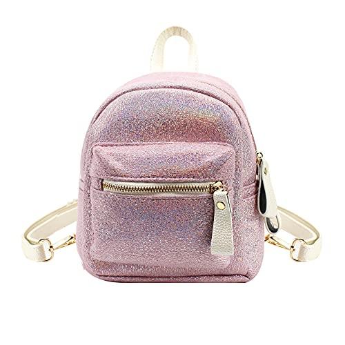 Mini mochila de cuero láser para mujer, mochila de viaje, bolsa pequeña para adolescentes, rosa, talla única