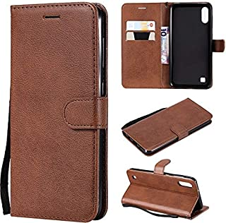Fashion Phone case for Samsung Galaxy M10, Solid Color Premium Quality PU Leather Flip Wallet Stand Case with Wrist Strap (Color : Brown)