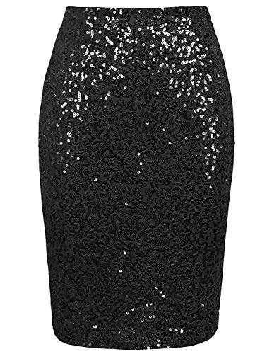 L'VOW Falda de lentejuelas para mujer de cintura alta, elástica, para cóctel, fiesta de cóctel, bodycon - Negro - Small