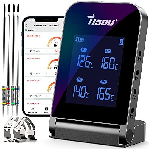 Tisoutec Bluetooth Grillthermometer mit 4*Temperaturfühler, 2*Sondenclip und Wiederaufladbar Li-Batterie, Verstecktes Haken Design Kabellos Fleischthermometer für BBQ, Küche, Grill, Ofen, Fleisch