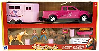 New-Ray Pink Pick Up Truck & Trailer Horse Set