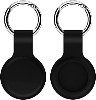 Case for Airtag Silicone Protective Cover for Airtags Lightweight Soft Protective Skin Cover Accessories with Keychain Anti-Loss Design (Black)