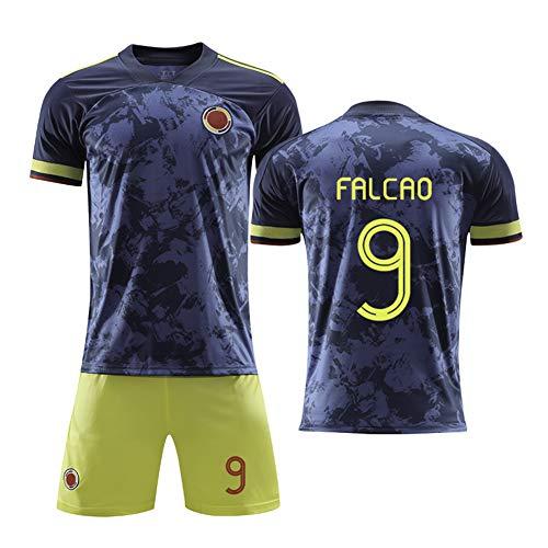 9 # Falcao Colombia Maglia da calcio per bambini Set-Abbigliamento tecnico professionale Maglia da atleta Adolescente Abbigliamento sportivo Maglia Felpa manica corta ad asciugatura rapida Felpa-blue-