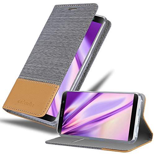 Cadorabo Hülle für Sony Xperia XA2 Plus in HELL GRAU BRAUN – Handyhülle mit Magnetverschluss, Standfunktion & Kartenfach – Hülle Cover Schutzhülle Etui Tasche Book Klapp Style