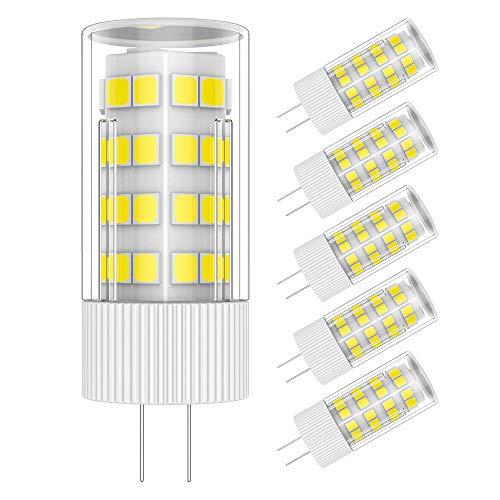 Pack de 5 LED Bombilla Lámpara G4 5W Blanco frío 6000K AC/DC 12V 51x2835 SMD, Ángulo de Haz de 360°
