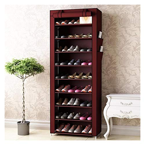 YSYSPUJ Zapatero Gabinetes de Zapatos no Tejidos Tubo de Acero Reforzado Hogar Muebles Muebles Empresas Organizador Rack Space Saver Moda Gabinete (Color : Wine Red 10L)