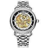 JIUSKO 210lsg02 Mens Esqueleto Vestido de Reloj de Acero Inoxidable–20Joya con Esfera de Color Oro