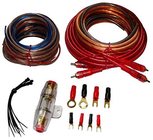 Aerzetix - Kit di cavi – Cablaggio – per montaggio – Amplificatore, amplificatore – Auto – Alimentazione – 8 mm2 – Suono – RCA – Fusibile – C12349