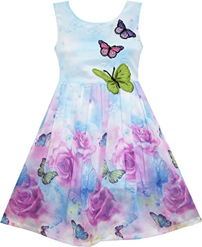 Sunny Fashion Mädchen Kleid Rose Drucken Schmetterling Stickerei Lila Gr. 146