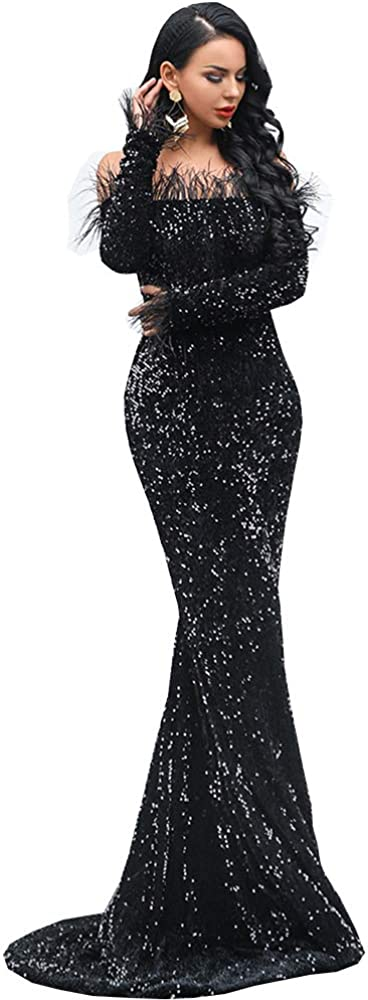 Miss ord Sexy Off Shoulder Feather Longsleeve Sequin Floor Length Evening Party Maxi Reflective Dress Vestidos