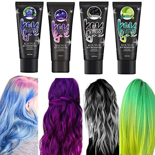 duhe189014 200ml 4 Farbset Farbwechsel Thermische Verfärbung Haarfarbe Temporäre schnelle Haarfarbe Karneval Geburtstagsfeier Haarfarbe DIY Farbe