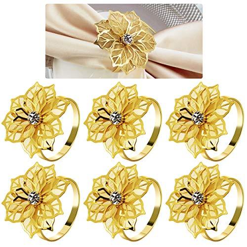 COCHIE Serviettenringe Gold, Metall serviettenring Serviettenschnallen Blume für Hochzeitsfeier Abendessen Jubiläum Tischdekoration 6 Stück