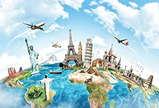 Yeele 8x6ft Globe Travel Backdrop Earth Map Worldwide Continent Famous Landmark Scenery Home Photography Background Infant Baby Adult Portrait Photo Booth Vinyl Wallpaper Photocall Studio Props