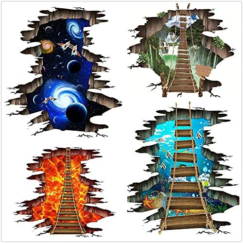 ahliwei 4 Juegos de Pegatinas Pegatinas de Pared Pegatinas de Suelo Pegatinas de Pared 3D Pintura de decoración del hogar