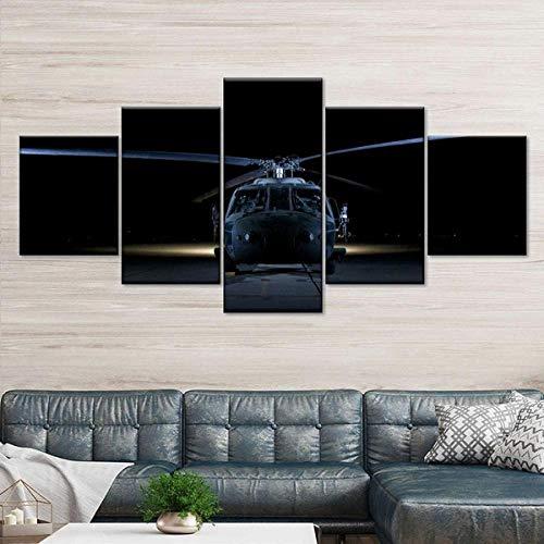 QWASD Chopper En La Noche Cuadro sobre Lienzo 5 Piezas Cuadro Lienzo Modernos Impresión De Imagen Pared 5 Piezas De Lienzo De Arte De Pared Sala Estar Dormitorio Moderno Decoración 150X80 Cm