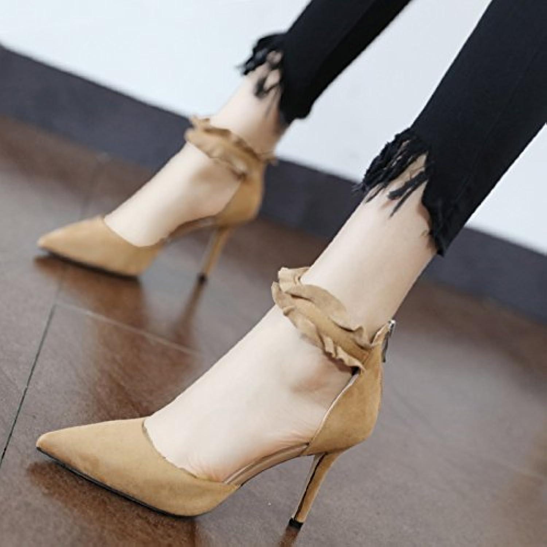 Xue Qiqi Pumps Süe Prinzessin Spitze flach mit dünnen und leichten für die high-heel Schuhe Satin Reiverschluss hinten Tipp einzelne Schuhe