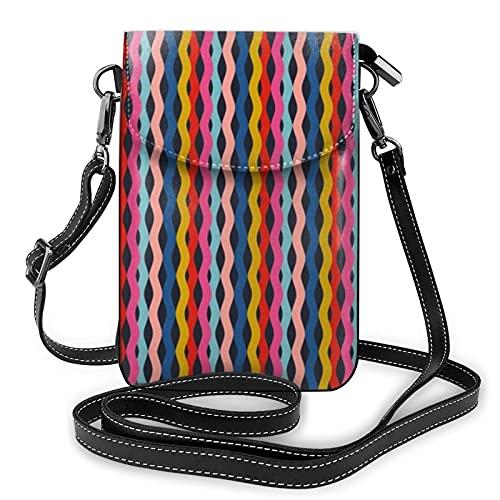 Bolso de hombro cruzado para mujer bolsa de teléfono colorido tablas de surf rayas vertical titular de la tarjeta dinero organizador bolso pu cuero