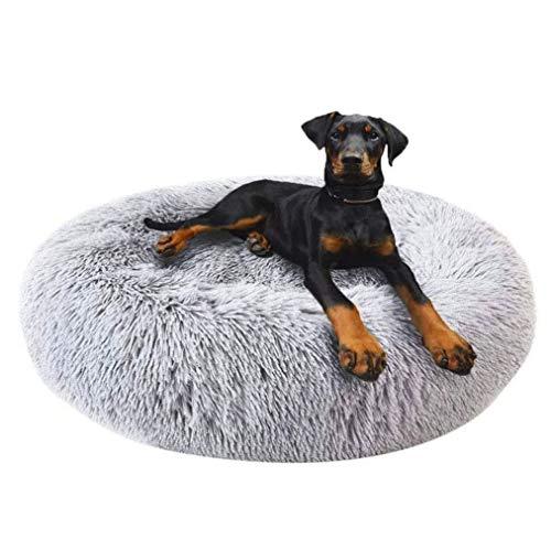 Round Deluxe Haustierbett für Hunde und Katzen, mit Reißverschluss, leicht zu entfernen und zu waschen, Kissen für Katzen/Hunde, 60 cm-120 cm / 5 Größen, Kunststoff, grau, 80 cm