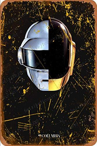 Cimily Daft Punk Helmet Random Access Memories Targhe in Metallo Poster in Metallo Retro Garage Home Garden Wall Bar Cafe Vintage Wall Decor Art 8 × 12 Pollici