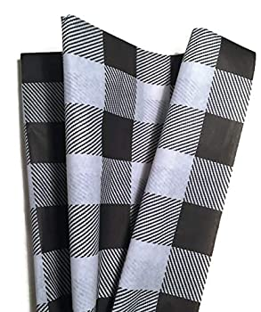 Lumberjack Tissue Paper  Black Buffalo Plaid Tissue Paper for Christmas Gift Wrapping 24 Large Sheets 20x30 White and Black Buffalo Check