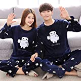 ALXY Otoño e invierno espesado franela pareja pijamas mujer versión coreana de la manga larga lindo y grueso de los hombres de los hombres del traje cálido Pijamas de las mujeres parejas Pijamas de la