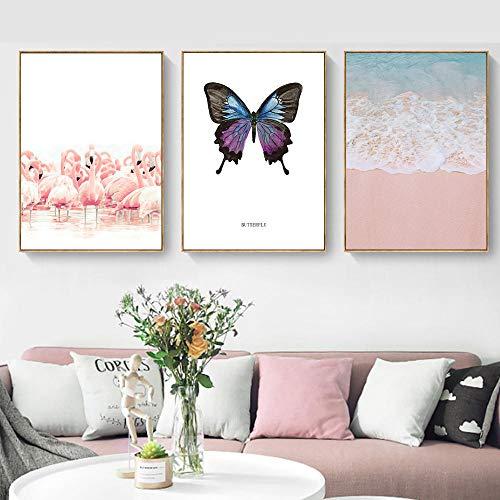 IGZAKER Poster Nordic Sea Pictures Roze Wall Art Quotes Schilderij Canvas Print Landschap Canvas Art Voor Woonkamer Plant Poster-60x80cmx3pcs geen frame