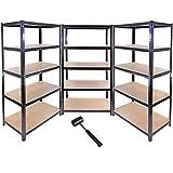 Monster Racking 3 estantes t-rax de acero sin soldadura tornillos negros 90cm x 45cm x 180cm