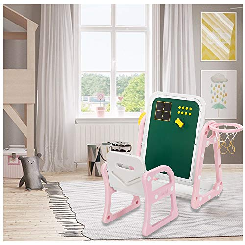 4 in 1 Kids Easel, Mosunx Art Magnetic Drawing Chalkboard with Basketball Hoop, Shooting and Throwing Ring, Chair and Storage Tray, for 2-6 Years Old (Pink, Best Gift for Girls)