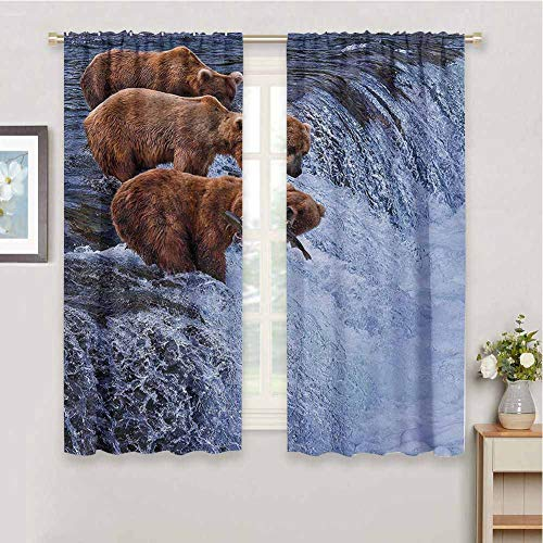 Wildlife Decor Kitchen Curtain Grizzly Bears Fishing in River Waterfalls Cascade Alaska Nature Camp View Drapes for Bedroom, W55 x L63 Inch, Brown White