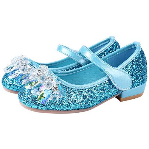 YOSICIL Mädchen Prinzessin Schuhe Kinder ELSA Kristall Schuhe Flach Partei Festliche Schuhe Prinzessin Kostüm Zubehör Schuhe Karneval Halloween Hochzeit