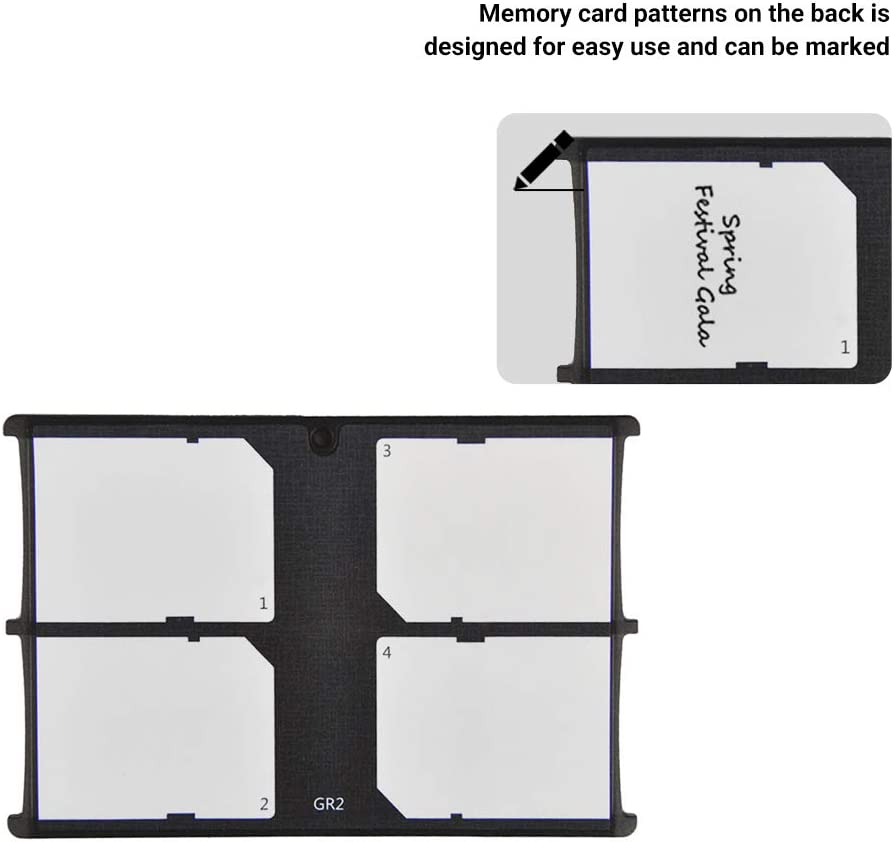 4 Slots Memory Card Case Holder Organizer Storage for SD Cards Slim Ultra-Thin Credit Card Size Lightweight Portable SD SDHC SDXC Memory Card Carrying Case