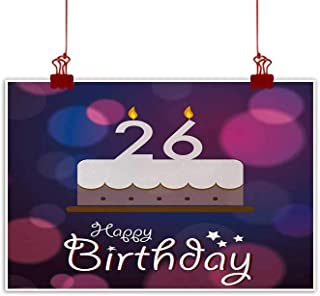 Sunset glow Outdoor Nature Inspiration Poster Wilderness 26th Birthday,Funky Birthday Wishes Happiness New Age Year Geometric Celebration Motif,Multicolor on Canvas Wall Decoration Wrapped